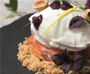 Smoked salmon, goat's cheese and chive gelato with salted hazelnut crumble