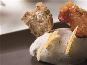 Parmesan and truffle gelato with crunchy speck, parmesan waffles and wholemeal bread